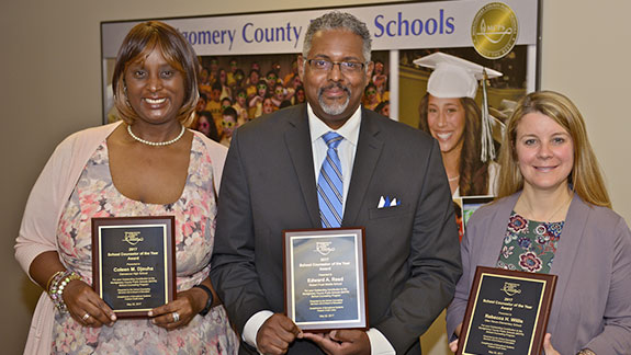 From left to right, Counselors of the Year Coleen Djouha, Edward Reed and Rebecca Willis.