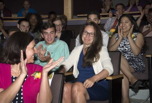 Nancy Shay (center) reacts as she is named MCPS teacher of the year at the Champions For Children awards ceremony at Black Rock Center for the Arts in Gemantown on Wednesday April 26, 2017.